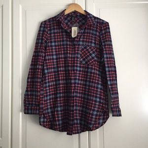 Forever 21 Long Plaid Shirt